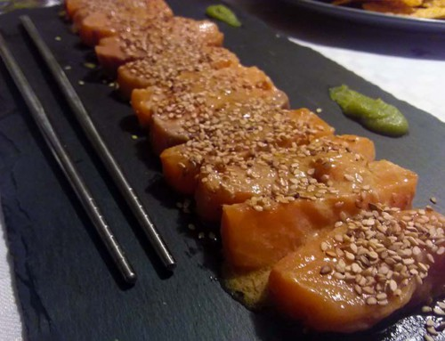 Salmon tataki marinated in sesame oil